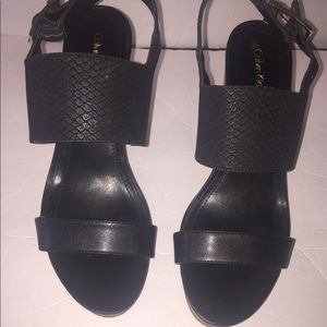 Women Calvin Klein wedge  open toe sandals shoe 10